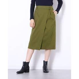 綿素材カジュアルラップスカート (チノカーキ)
