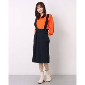 ラップデザイン2wayサロペットスカート (ネイビー)