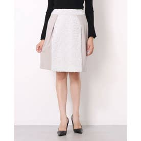 刺繍デザイン異素材コンビスカート (グレージュ)