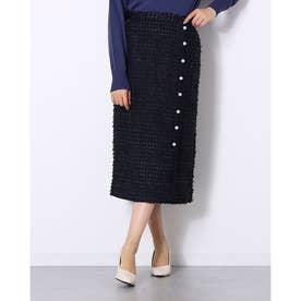 パールボタン付きラップ風ツイード調スカート (ネイビー)