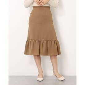 ウエストボタン裾ペプラムスカート (キャメル)