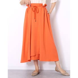 カジュアルフレアロング丈スカート (オレンジ)