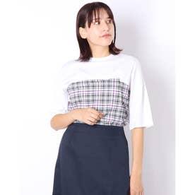 ウェストマークデザイン重ね着風Tシャツ (ホワイト)