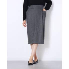 サイドポケットIラインスカート (杢グレー)