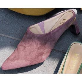さっと履けてキレイ見えのプレートヒールミュール (ピンク)