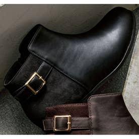 軽量ソールベルトデザイン切替ブーツ (黒×黒スエード)