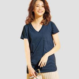 裾ギャザー美ラインVネックTシャツ (ネイビー)