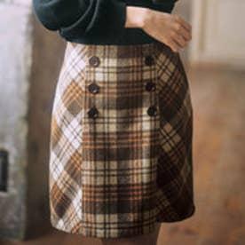 インナーパンツ付チェック柄台形スカート (茶系チェック)