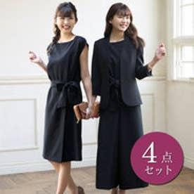 ワンピース付ハンサムレディース4点スーツ (ブラック)