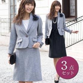 凹凸素材のスラブラメファンシー3点スーツ (グレー×ブラック)