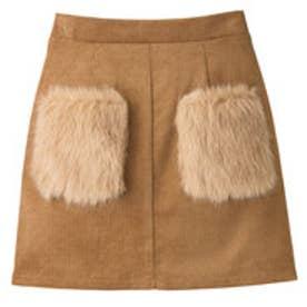 ポケットファーコーデュロイスカート (キャメル)
