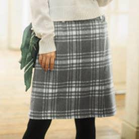 ベルト付ラップ風台形スカート (グレーケイチェック)