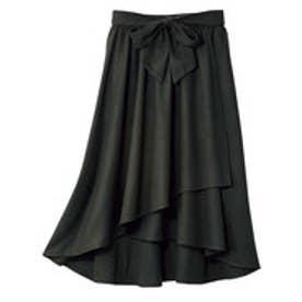 ベルト付ラップ風フレアースカート (ブラック)