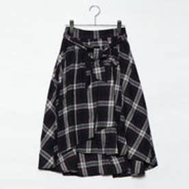 ベルト付ラップ風フレアースカート (ネイビーケイチェック)