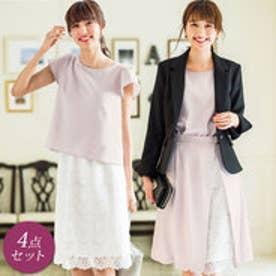 【4点セット】2スカート付4点セットスーツ (ブラック×ピンクグレー)