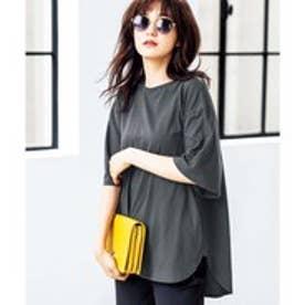 GeeRA綿100%ビッグシルエットTシャツ (チャコールグレー)