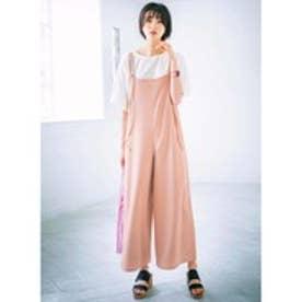 GeeRA【2点セット】フリルTシャツ&サロペットセットアップ (ホワイト×ピンクベージュ)