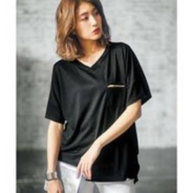 GeeRAジップポケットサイドタックゆるTシャツ (ブラック)