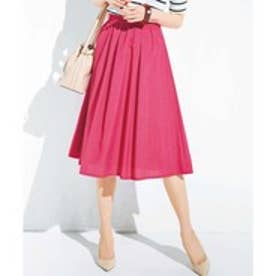 GeeRA麻調合繊鮮やかフレアースカート (ピンク)