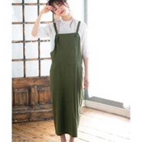 GeeRA綿100%サロペットスカート (カーキ)