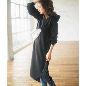 裏起毛裾ファスナーパーカーワンピース (ブラック)
