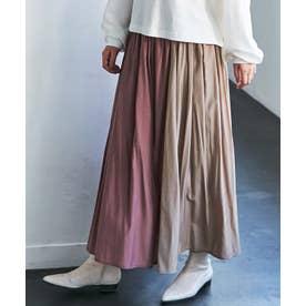 【WEB限定】配色フレアースカート (ピンク系)