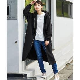【WEB限定】裏起毛ロングパーカーコート (ブラック)