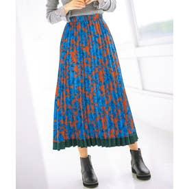 裾配色プリーツロングスカート (オレンジブラウン系)