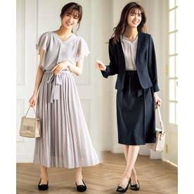 【4点スーツ】デザイン違いスカート2本セット4点スーツ (ネイビー×グレー)