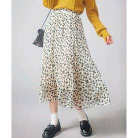 裾消しプリーツロングスカート (オフ白地花柄)