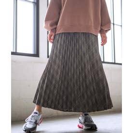 【WEB限定】チェック柄プリーツマキシスカート (グレー系)
