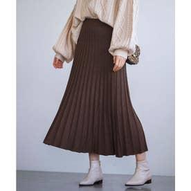 【WEB限定】ニットプリーツフレアースカート (ブラウン)