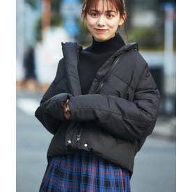 【WEB限定】フェイクダウンノーカラージャケットコート (ブラック)