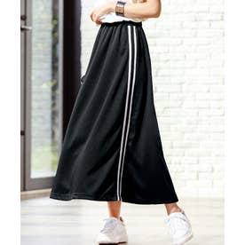 サイドラインフレアースカート (ブラック)