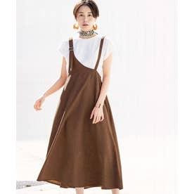 【2点セット】ワンショルジャンパースカート (ブラウン系)