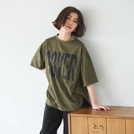 プリントチュニックTシャツ (ビックロゴカーキ)