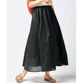 綿100%ギャザーマキシスカート (ブラック)