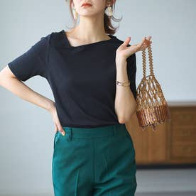 リブアシメネックTシャツ (ブラック)