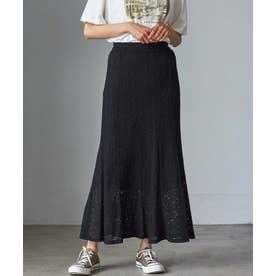 【WEB限定】 プリーツレーススカート (ブラック)
