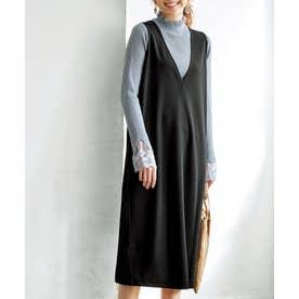 Vネックジャンパースカート (ブラック)