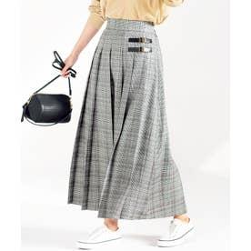 【インスタグラマーてらさん着用】合皮ベルトデザインプリーツスカート (黒系チェック)