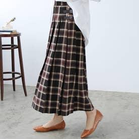 【インスタグラマーてらさん着用】合皮ベルトデザインプリーツスカート (ブラウン大柄チェック)