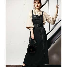 ライダース風サロペットスカート (ブラック)