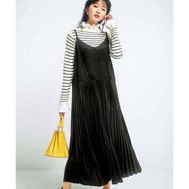 スエード調プリーツジャンパースカート (ブラック)