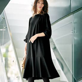 裾フレアーワンピース (ブラック)