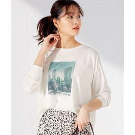 プリントゆるシルエットTシャツ (カラーフォト×オフ白)