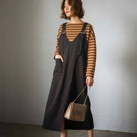 【WEB限定】Vネックジャンパースカート (ブラック)【Lサイズ】