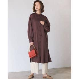 【WEB限定】バンドカラーサテンロングシャツ (ブラウン)