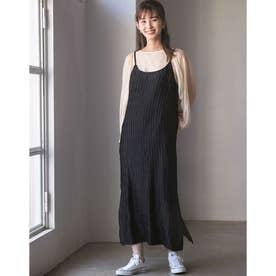 【WEB限定】サテンランダムプリーツキャミワンピース (ブラック)