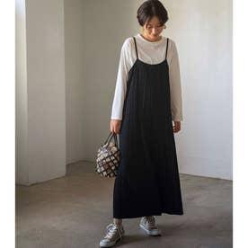 【WEB限定】プリーツワイドサロペット&Tシャツセット (ブラック)【Lサイズ】